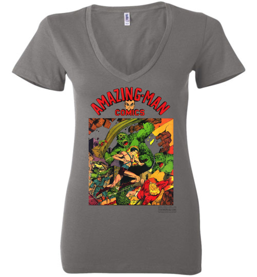 Amazing-Man Comics No.22 V-Neck (Womens, Light Colors)