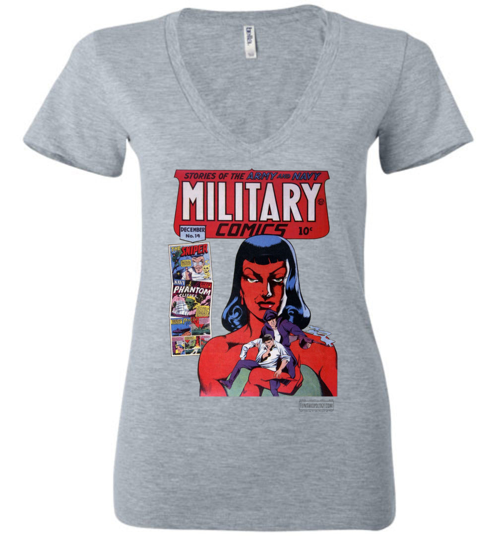Military Comics No.14 V-Neck (Womens, Light Colors)