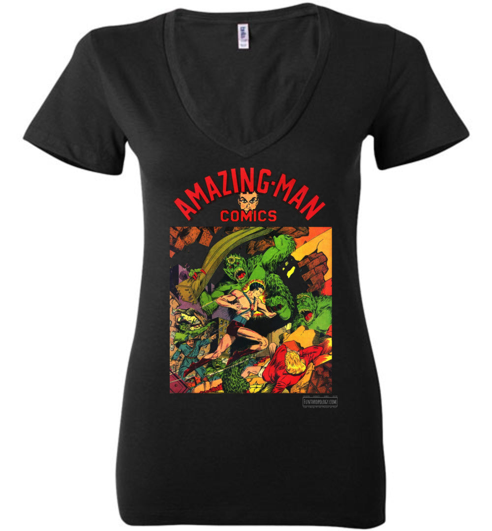 Amazing-Man Comics No.22 V-Neck (Womens, Dark Colors)