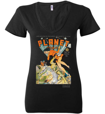 Planet Comics No.15 V-Neck (Womens, Dark Colors)