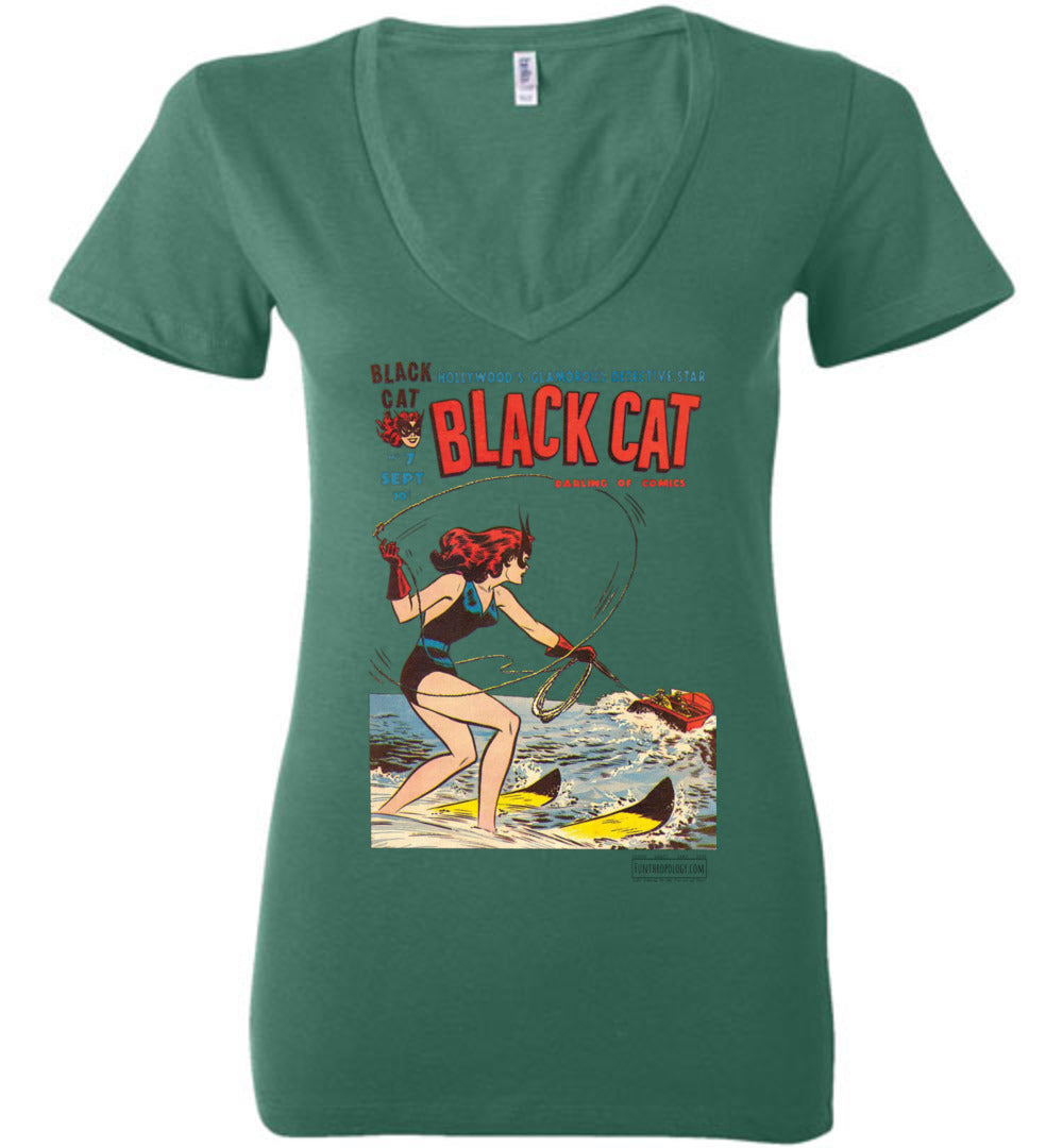 Black Cat No.7 V-Neck (Womens, Light Colors)