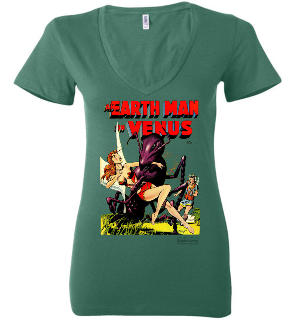 An Earth Man On Venus No.1 V-Neck (Womens, Light Colors)
