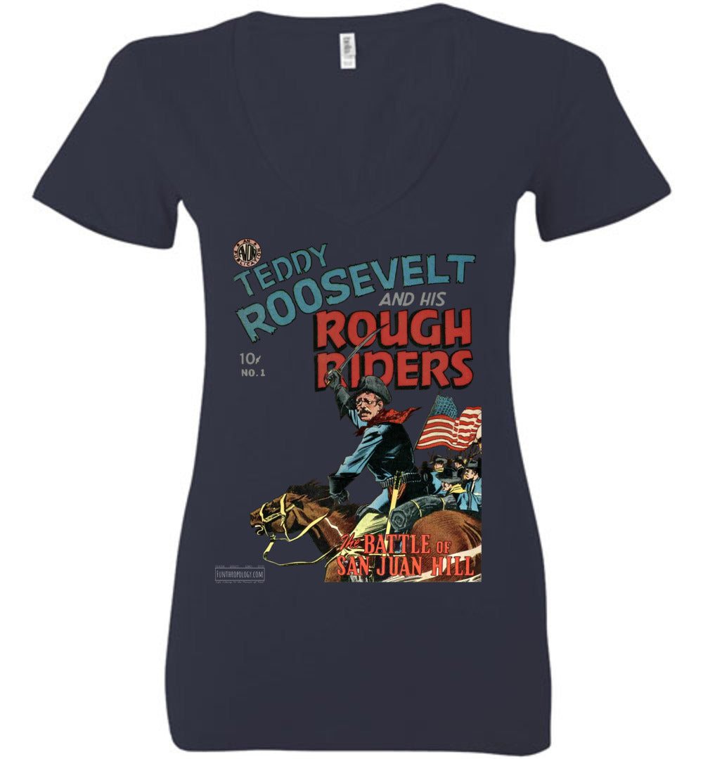 Teddy Roosevelt And His Rough Riders No.1 V-Neck (Womens, Dark Colors)