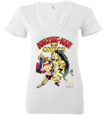 Amazing-Man Comics No.14 V-Neck (Womens, Light Colors)