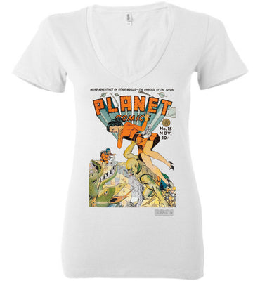 Planet Comics No.15 V-Neck (Womens, Light Colors)