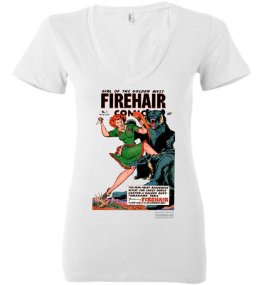 Firehair Comics No.1 V-Neck (Womens, Light Colors)