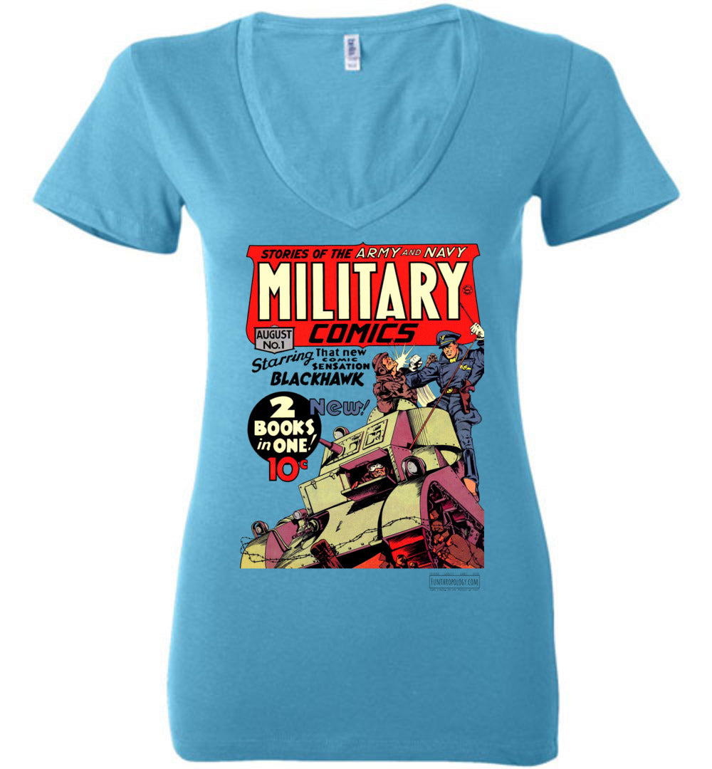 Military Comics No.1 V-Neck (Womens, Light Colors)