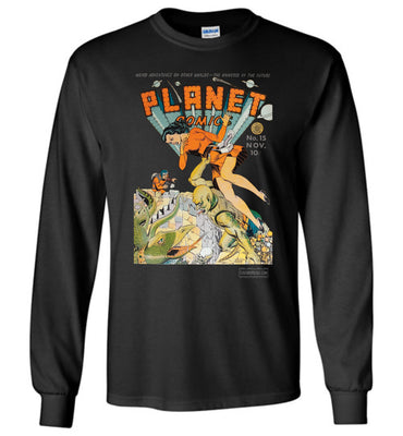 Planet Comics No.15 Long Sleeve (Unisex Plus, Dark Colors)