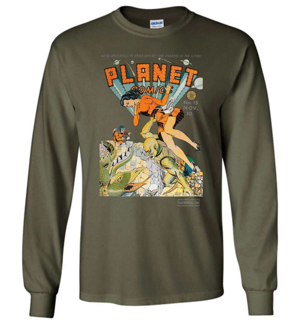 Planet Comics No.15 Long Sleeve (Unisex, Dark Colors)