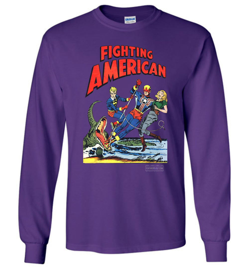 Fighting American No.5 Long Sleeve (Unisex, Dark Colors)