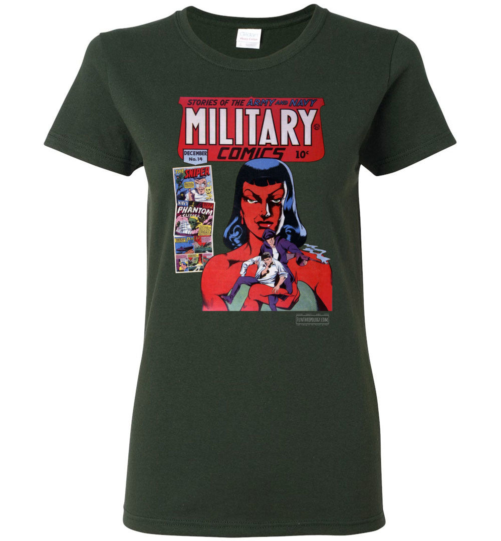 Military Comics No.14 T-Shirt (Womens, Dark Colors)
