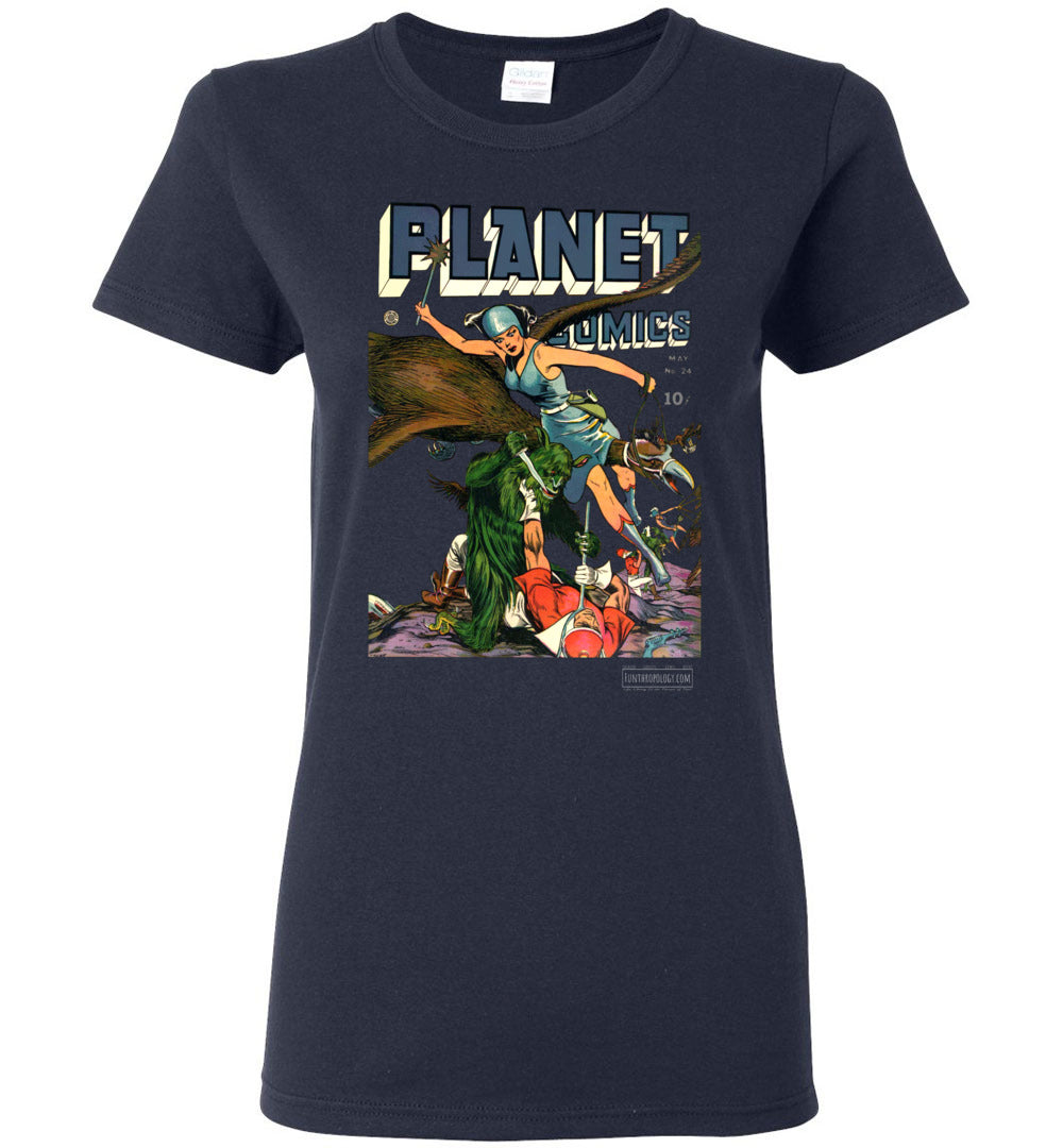 Planet Comics No.24 T-Shirt (Womens, Dark Colors)
