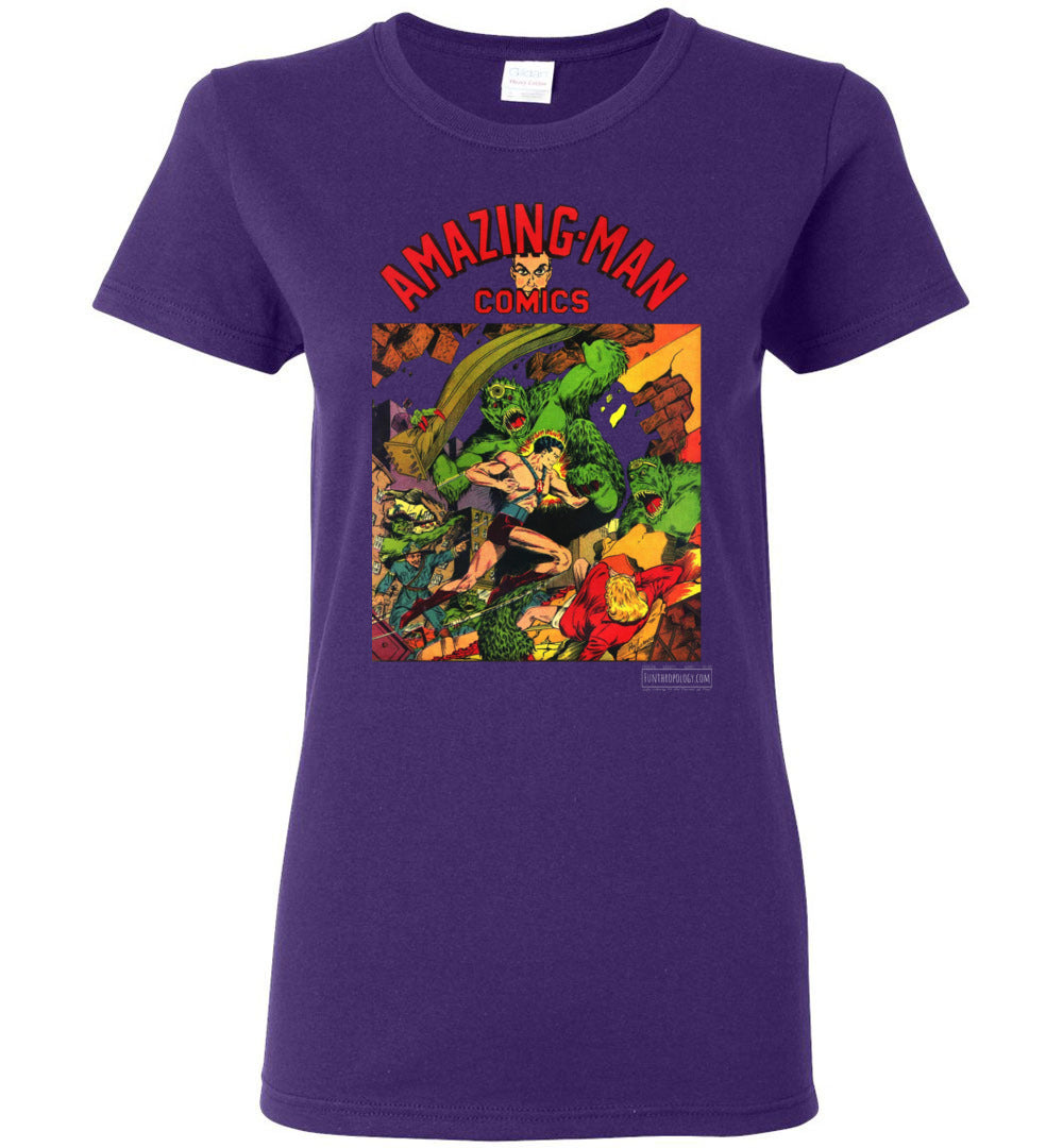 Amazing-Man Comics No.22 T-Shirt (Womens, Dark Colors)