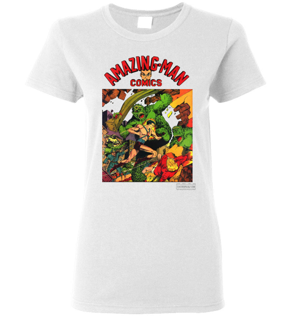 Amazing-Man Comics No.22 T-Shirt (Womens, Light Colors)