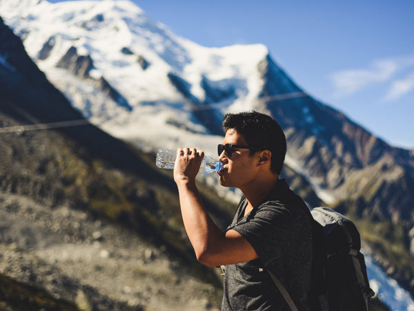 drinking water in the mountains