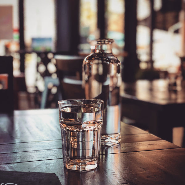 glass of water and glass water bottle