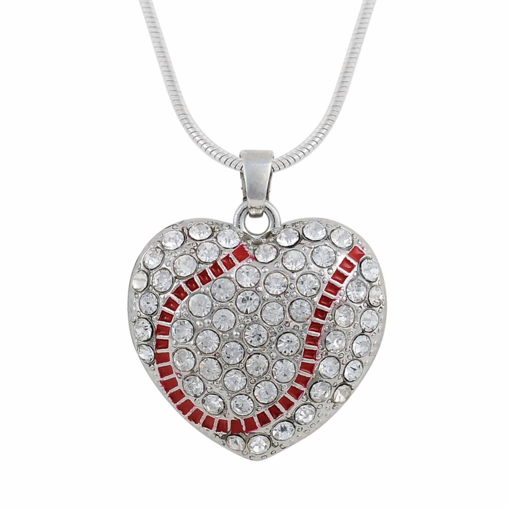 baseball sports white gold necklace charm pendant softball