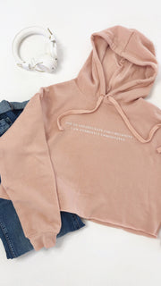 Unfortunately Unmeditated Eco Friendly Cropped Fleece Hoodie | Pink