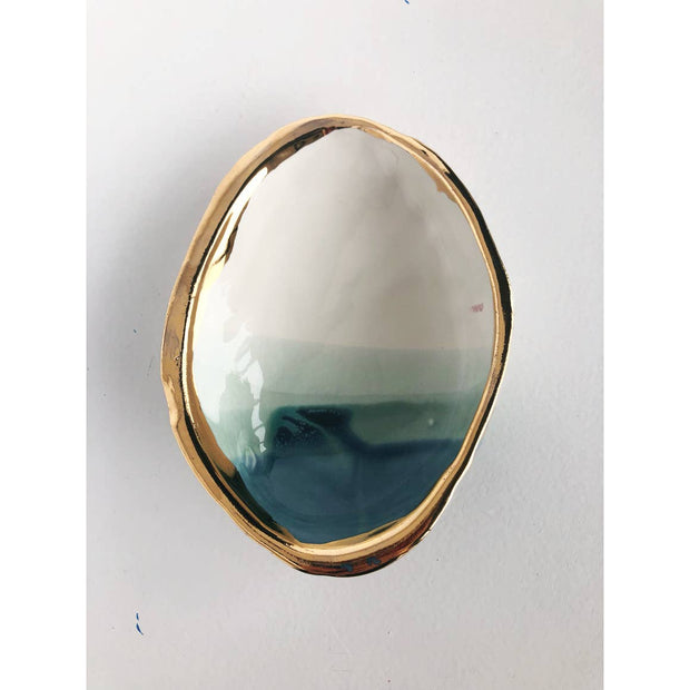 Handmade Ceramic Abalone Smudge Dish with 22K Gold