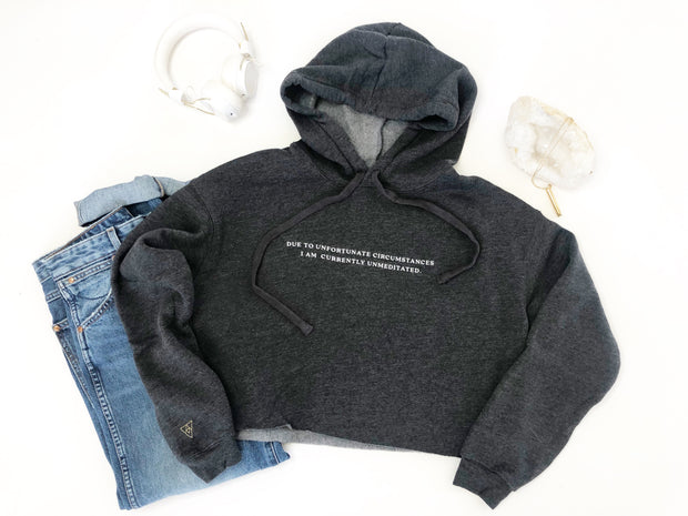 Unfortunately Unmeditated Eco Friendly Cropped Fleece Hoodie | Midnight Storm