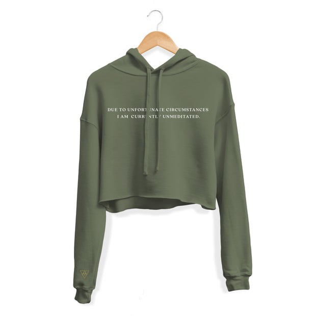 Unfortunately Unmeditated Eco Friendly Cropped Fleece Hoodie | Olive Green