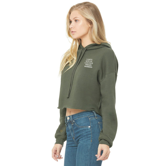 Vibes Speak Eco Friendly Cropped Fleece Hoodie | Olive Green