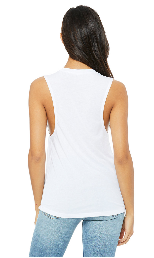 Unfortunately Unmeditated Scoop Muscle Tank | White