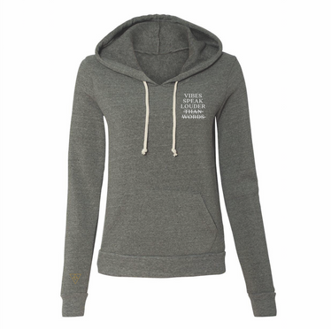 Vibes Speak Eco Friendly Fleece Slim Fit Hoodie | Grey