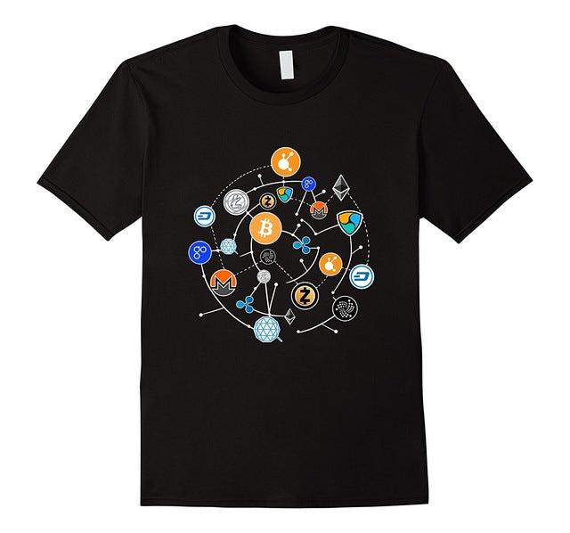 Cryptocurrency T-shirt. Ethereum, Bitcoin, Litecoin, T-shirt