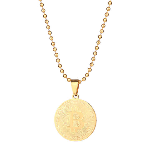 Stainless Steel Bitcoin Necklace Commemorative Bitcoin Pendant Novel Necklace for Collection