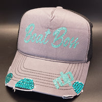 Women's *BLING* Distressed Snapback Hat