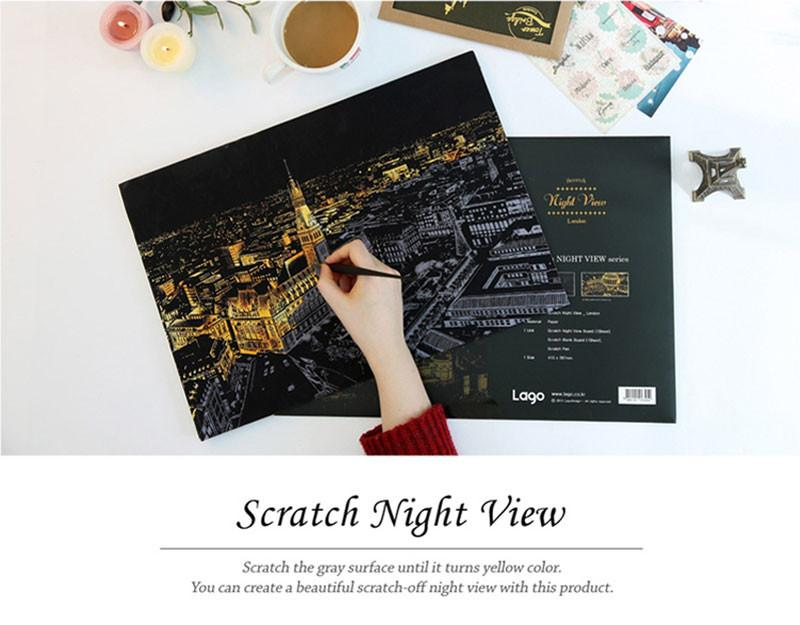 Scratch-off Nightview Art Paint Paper