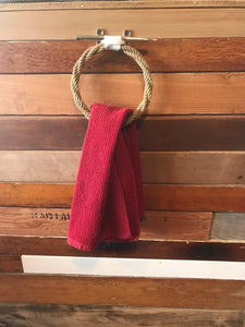 Tan Rope Towel Ring Rack - Alaska Rug Company