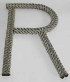 rope letter wall hanging, recycled rope