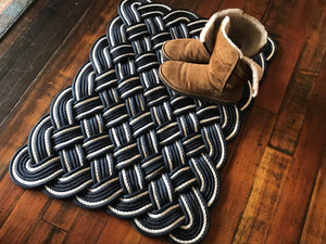 "36"" x 24"" Navy and White Rope Rug"