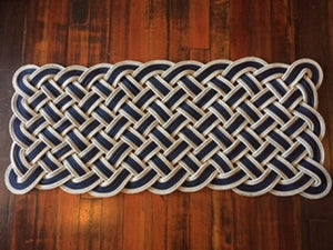 "Navy with Double Silver Accent Door Mat 50"" X 20"" - Alaska Rug Company"