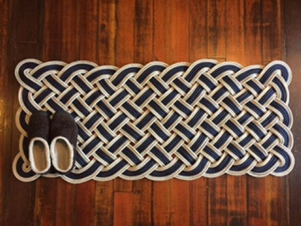 "Navy with Double Silver Accent Door Mat 50"" X 20"""