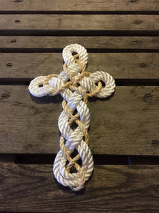 Woven Knotted Cross -New Rope White With Khaki