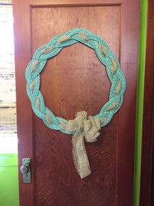 "Rope Wreath 24"" Diameter- Knotted Recycled Rope-"