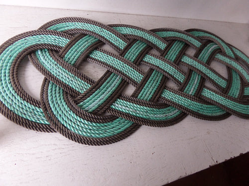 Rope Rug Green with Double Brown Accent 36