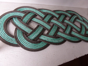 "Rope Rug Green with Double Brown Accent 36"" x 12"" - Alaska Rug Company"