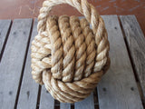 "Large 10"" Monkey Fist Knotted Bookend or Doorstop Manila Rope"