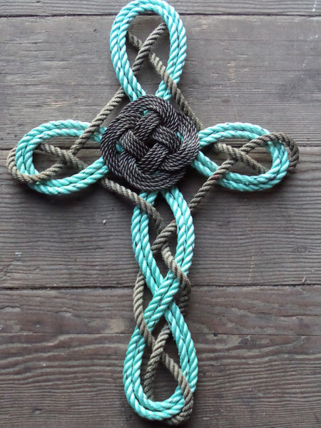 Woven Knotted Cross -Recycled Rope