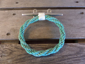 Turquoise Rope Towel Ring With Stainless Steel Cleat - Alaska Rug Company