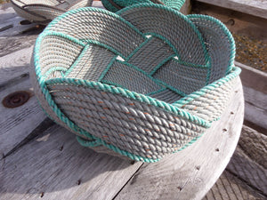 "17"" Rope Basket-Silver with Accent Trim - Alaska Rug Company"