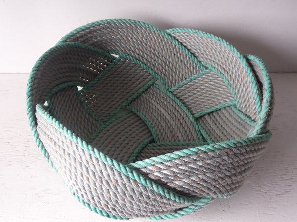 "17"" Rope Basket-Silver with Accent Trim"