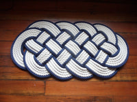 Off White Cotton Rope Rug Navy Accent 32 x 14