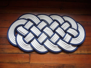 Off White Cotton Rope Rug Navy Accent 32 x 14 - Alaska Rug Company