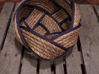 "12"" Natural Manila Bowl with Navy Accent"