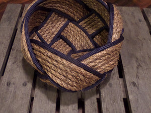 "12"" Natural Manila Bowl with Navy Accent - Alaska Rug Company"